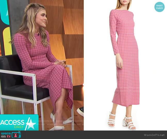 Ryer Plaid Pencil Dress by Rachel Comey worn by Melissa Roxburgh on Access Hollywood
