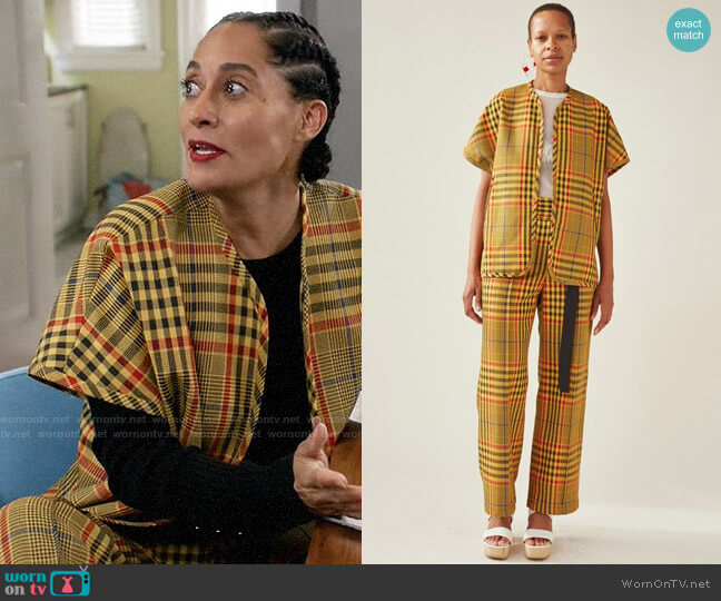 Rachel Comey Bottiglia Plaid Level Jacket and Elio Trousers worn by Rainbow Johnson (Tracee Ellis Ross) on Blackish