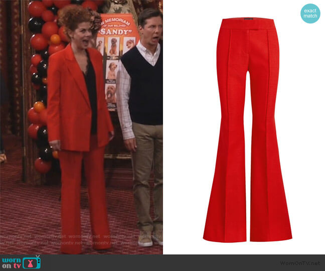 Sofia Hopsack Suiting Flare Pants by Rachel Zoe worn by Grace Adler (Debra Messing) on Will & Grace
