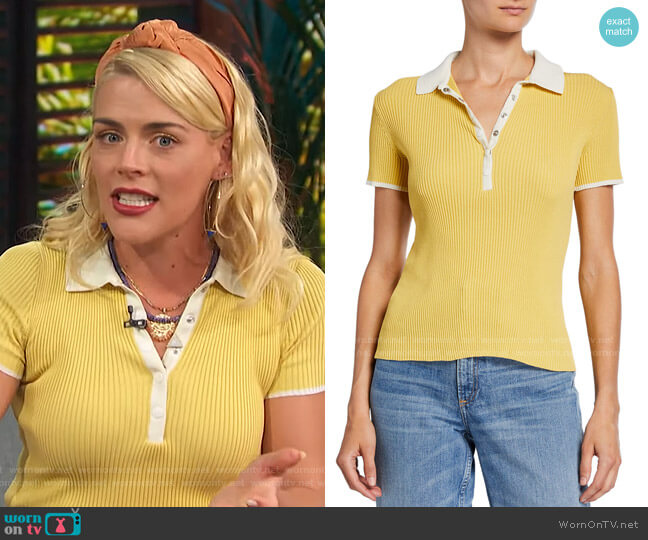 Libby Polo Shirt by Rag & Bone worn by Busy Philipps on Access Hollywood