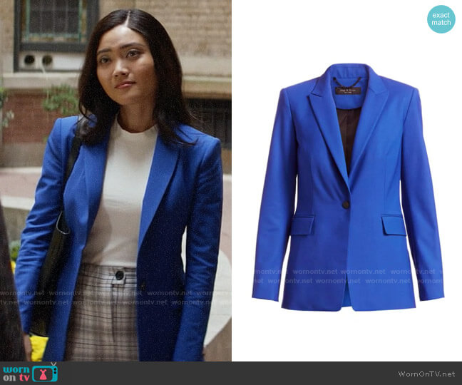 Rag & Bone Hazel Blazer in Blue Paradise worn by Joy (Jessica Lu) on God Friended Me