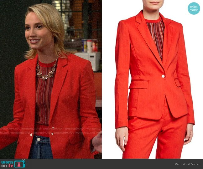 Rag & Bone Lucy Linen Blazer worn by Mandy Baxter (Molly McCook) on Last Man Standing