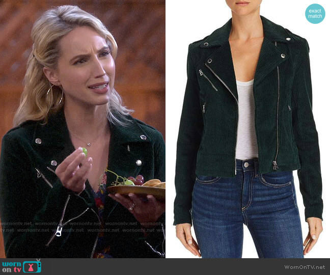 Rag & Bone Mercer Corduroy Moto Jacket worn by Mandy Baxter (Molly McCook) on Last Man Standing