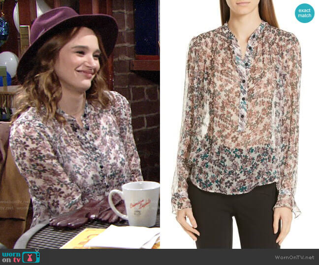Rag & Bone Susan Floral Blouse worn by Summer Newman (Hunter King) on The Young & the Restless