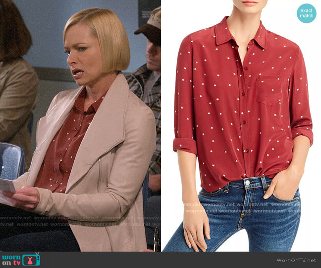 Rails Kate Star Print Silk Shirt worn by Jill Kendall (Jaime Pressly) on Mom