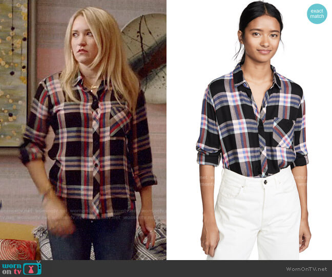 Rails Hunter Shirt in Black Melon Aqua worn by Roxy Doyle (Emily Osment) on Almost Family