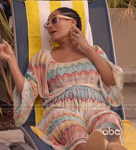 Rainbow's chevron striped swim suit coverup on Black-ish