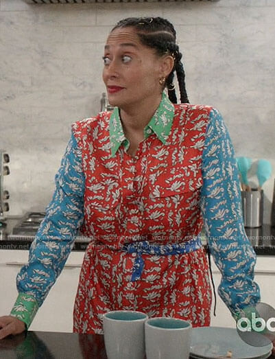 Rainbow's printed colorblock shirtdress on Black-ish