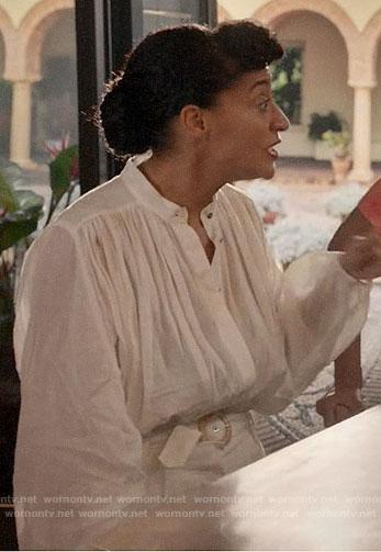 Rainbow's white linen jumpsuit on Black-ish