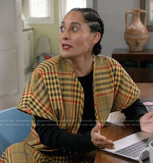 Rainbow's yellow plaid jacket and trousers on Black-ish