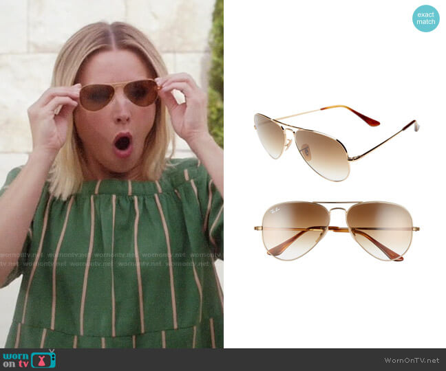 Ray Ban Aviator Sunglasses worn by Eleanor Shellstrop (Kristen Bell) on The Good Place