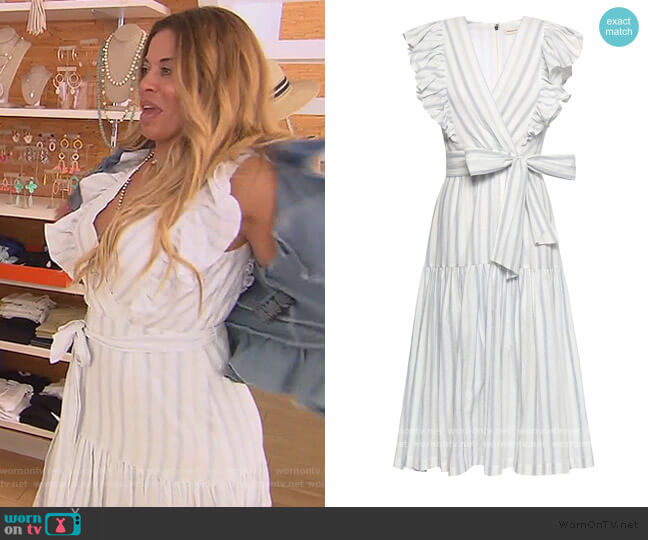 Wrap-effect striped stretch-cotton midi dress by Rebecca Taylor worn by Dolores Catania  on The Real Housewives of New Jersey