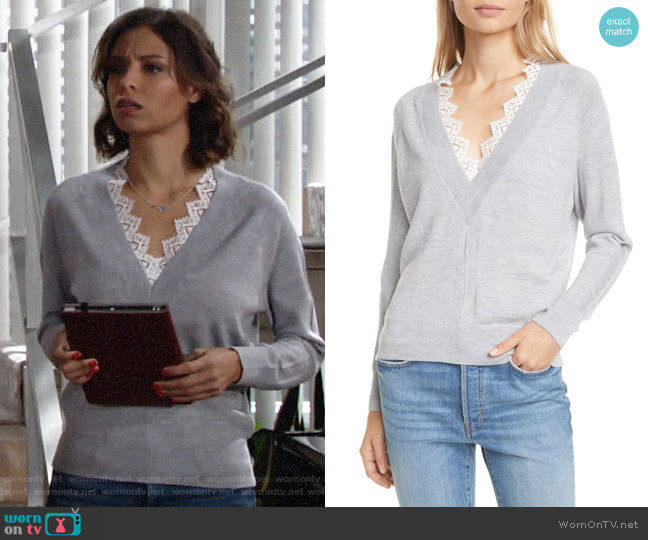 Rebecca Taylor Lace Detail V-Neck Merino Wool Sweater worn by Elena Dawson (Brytni Sarpy) on The Young & the Restless