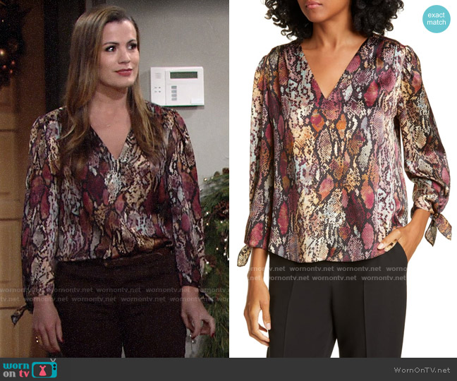 Rebecca Taylor Snakeskin Print Tie Cuff Top worn by Chelsea Lawson (Melissa Claire Egan) on The Young & the Restless