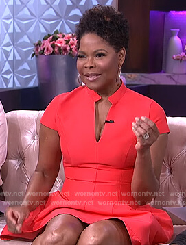 Angela Robinson's red fit and flare dress on The Real
