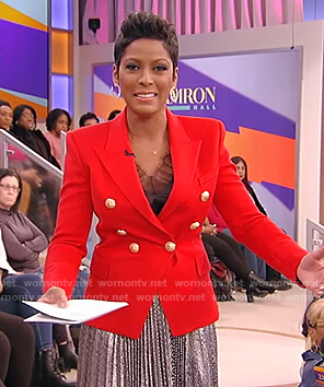 Tamron's red blazer and metallic pleated skirt on Tamron Hall Show