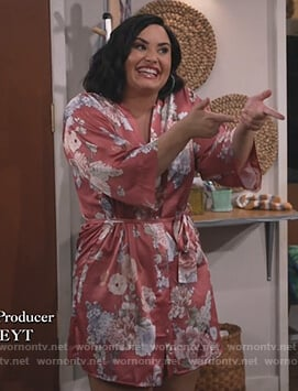 Jenny's pink floral print robe on Will and Grace