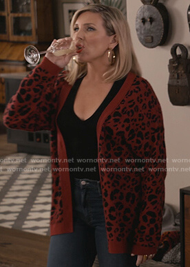 Brianna's red leopard cardigan on Grace and Frankie