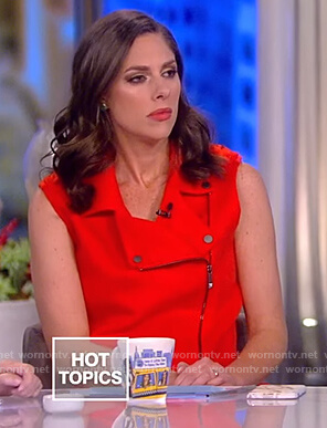 Abby's red zip front long vest on The View