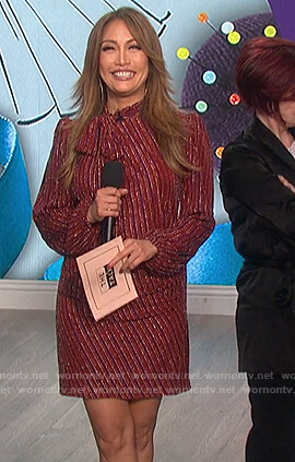 Carrie's red metallic tie neck dress on The Talk