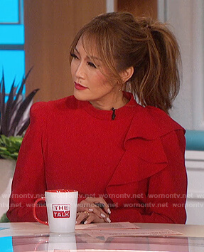 Carrie's red ruffle mini dress on The Talk