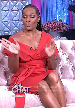 Kron Moore's red tie off shoulder dress on The Real