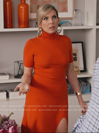 Brianna's red turtleneck dress on Grace and Frankie