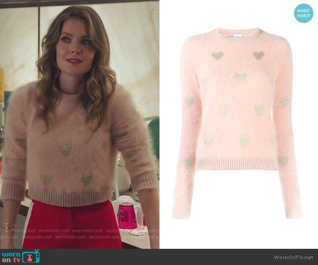 Knitted Heart Sweater by RED Valentino worn by Sutton (Meghann Fahy) on The Bold Type