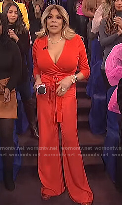 Wendy's red wrap top on The Wendy Williams Show
