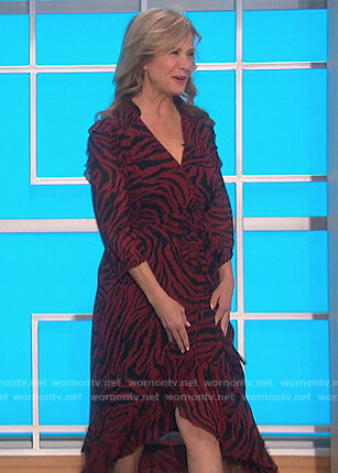 Nancy Travis's red zebra stripe dress on