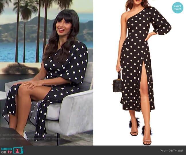 Lawrence Polka Dot Dress by Reformation worn by Jameela Jamil on Access Hollywood