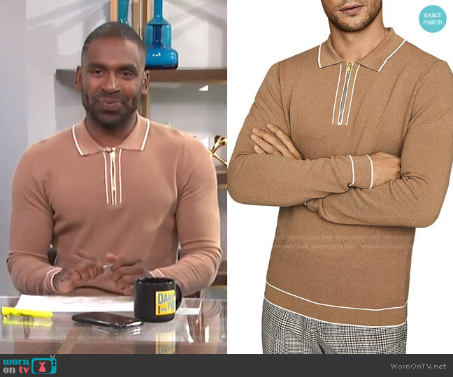 Lanark Long-Sleeve Pique Polo Shirt by Reiss worn by Justin Sylvester  on E! News