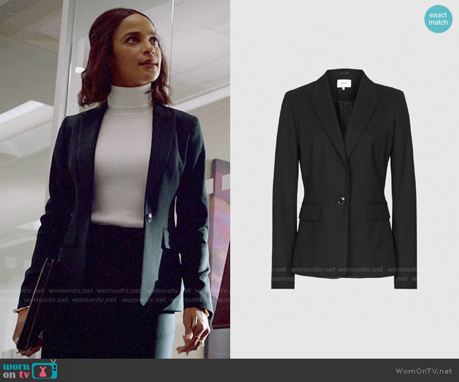 Reiss Hartley Cropped Jacket worn by Edie Palmer (Megalyn Echikunwoke) on Almost Family