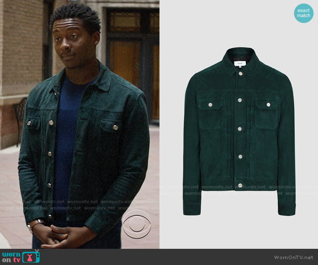 Reiss Scott Teal Suede Western Jacket worn by Miles Finer (Brandon Micheal Hall) on God Friended Me