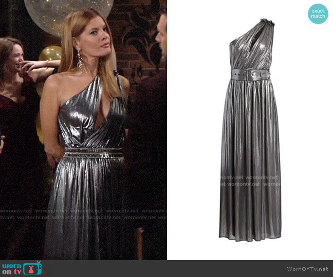 Retrofete Andrea Metallic Maxi Dress worn by Phyllis Summers (Michelle Stafford) on The Young & the Restless