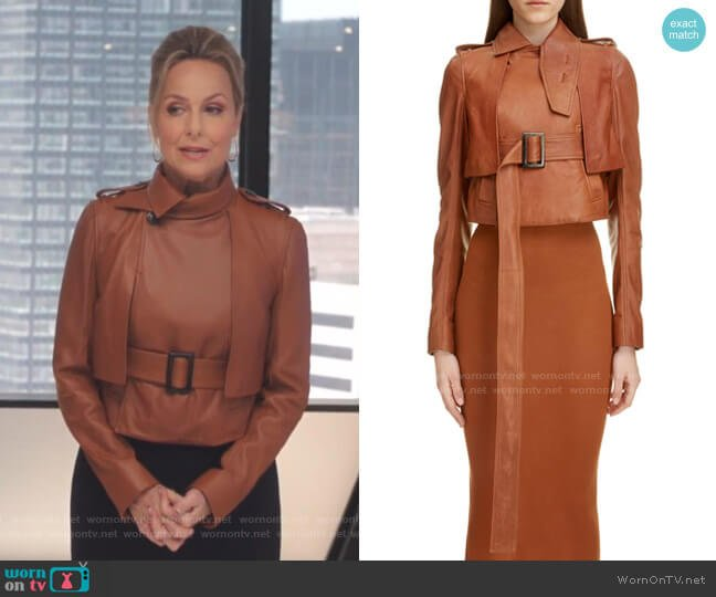 Crop Leather Jacket by Rick Owens worn by Jacqueline (Melora Hardin) on The Bold Type
