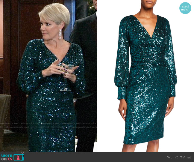 Rickie Freeman for Teri Jon Sequin Blouson-Sleeve Ruched-Waist Dress worn by Ava Jerome (Maura West) on General Hospital