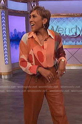 Robin's abstract print blouse and leather pants on The Wendy Williams Show