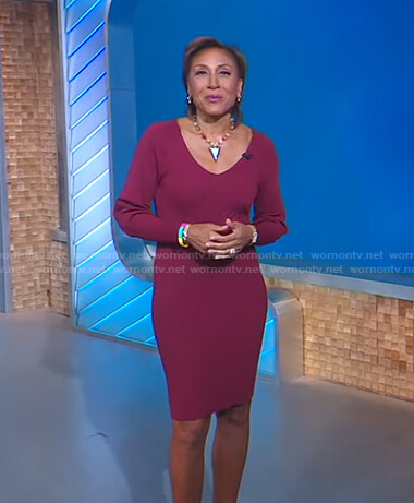 Robin's burgundy ribbed v-neck dress on Good Morning America
