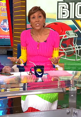 Robin's colorblock ribbed dress on Good Morning America
