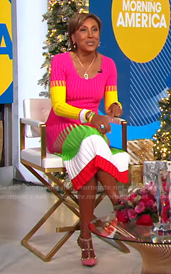 Robin's colorblock ribbed dress on Good Morning America