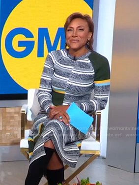Robin's striped ribbed sweater and skirt on Good Morning America
