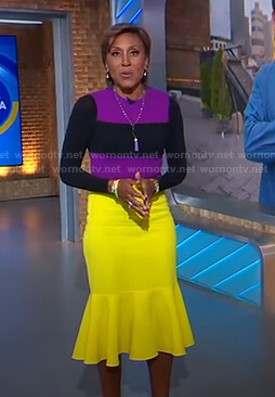 Robin's purple and yellow colorblock dress on Good Morning America