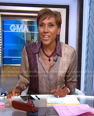 Robin's snake print blouse on Good Morning America