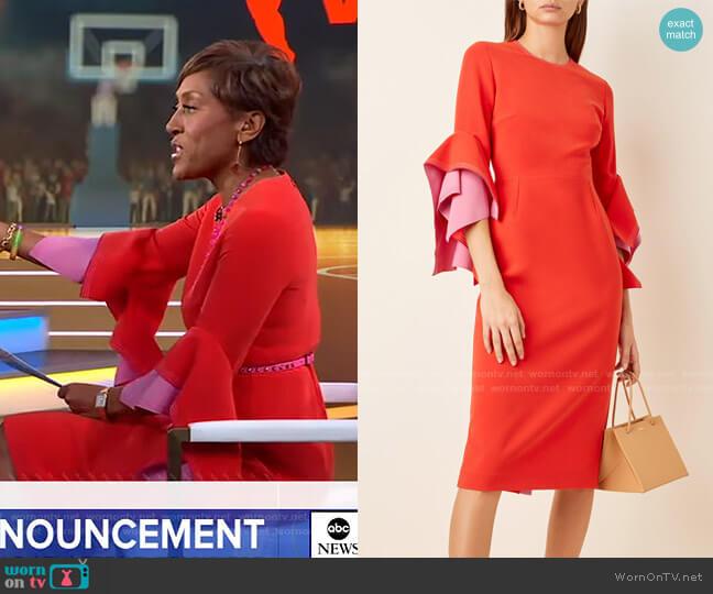 Ronda Two-Tone Crepe Midi Dress by Roksanda worn by Robin Roberts  on Good Morning America