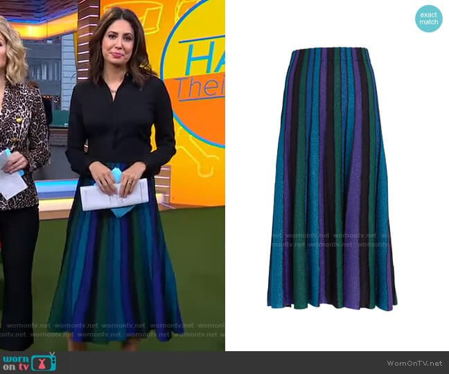 Yuma Skirt by Ronny Kobo worn by Cecilia Vega  on Good Morning America