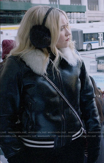 Roxy's leather jacket with fur collar on Almost Family