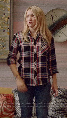 Roxy's metallic plaid shirt on Almost Family
