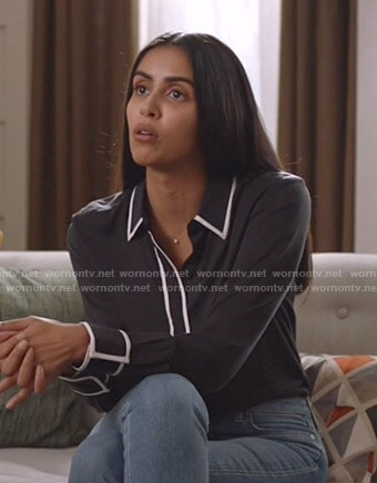 Saanvi's black contrast piping shirt on Manifest