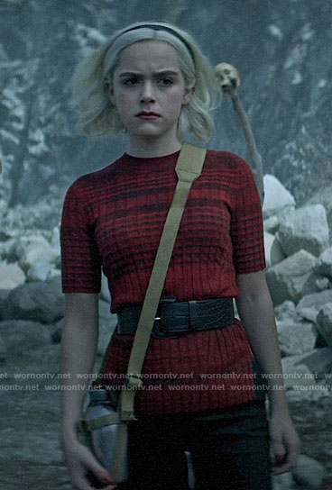 Sabrina's red striped short sleeve sweater on Chilling Adventures of Sabrina